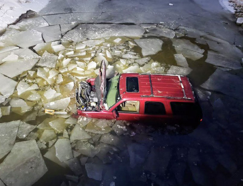 A van left the roadway and ended up in a river in West Perth on Tuesday morning.