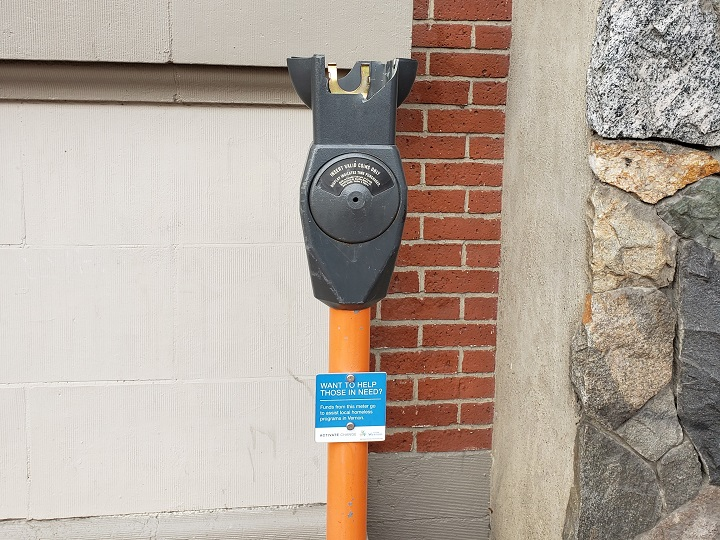 A photo of a vandalized parking meter in Vernon taken in January.