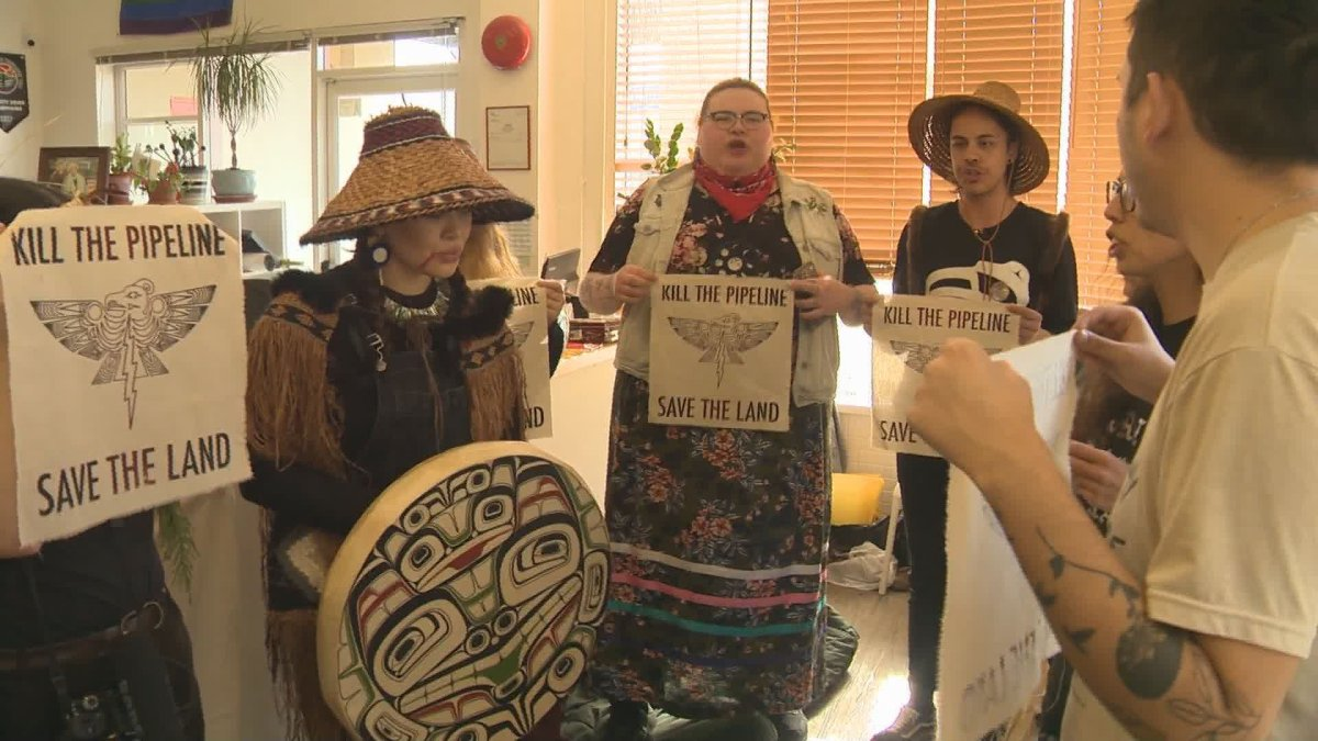 Indigenous youth activists occupy MLA Melanie Mark's office in East Vancouver on Friday, Feb. 21, 2020.