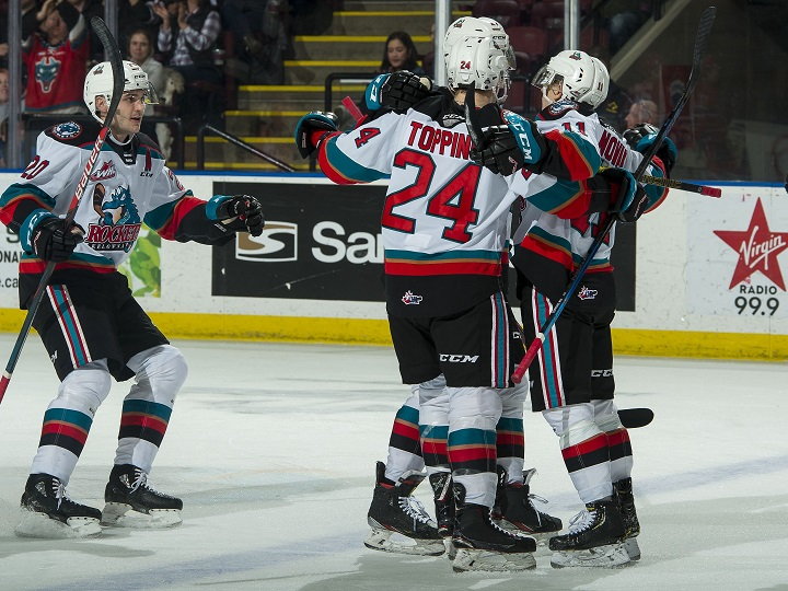 The Kelowna Rockets, seen here celebrating a goal, will host the Red Deer Rebels on Saturday night.