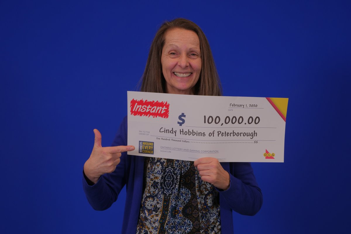 Cindy Hobbins of Peterborough won $100,000 on Instant Win.
