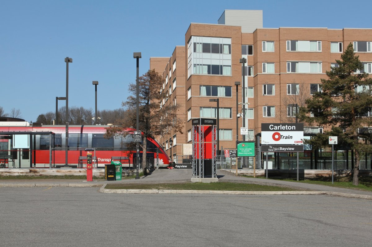 An OC Transpo O-Train arrives at the Carleton station in Ottawa on Sunday, April 29, 2012. Service on the Trillium Line will shut down May 2, 2020 as construction ramps up to extend the line further south.