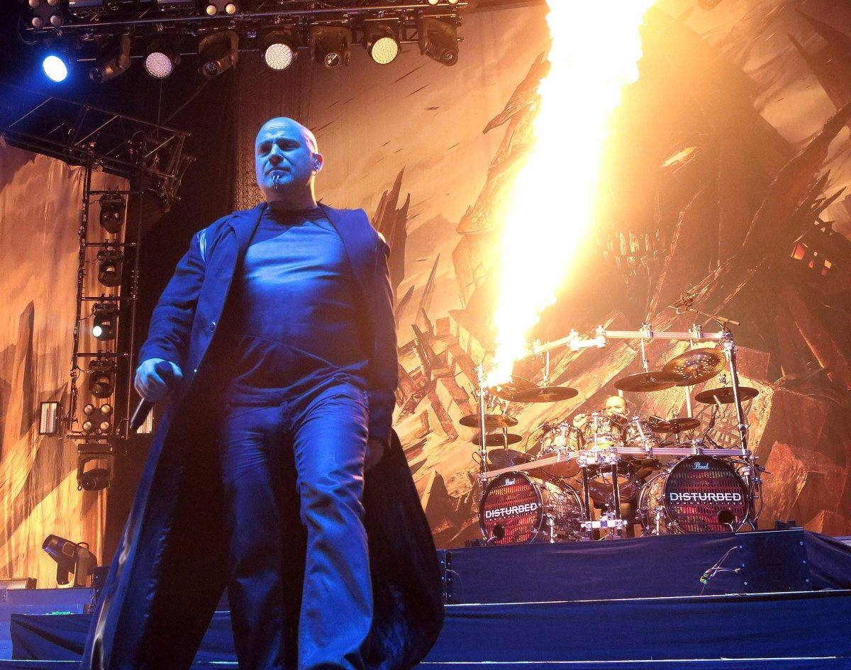 David Draiman of the band Disturbed performs during the MMRBQ at the BB&T Pavilion on Saturday, May 21, 2016, in Camden, N.J.