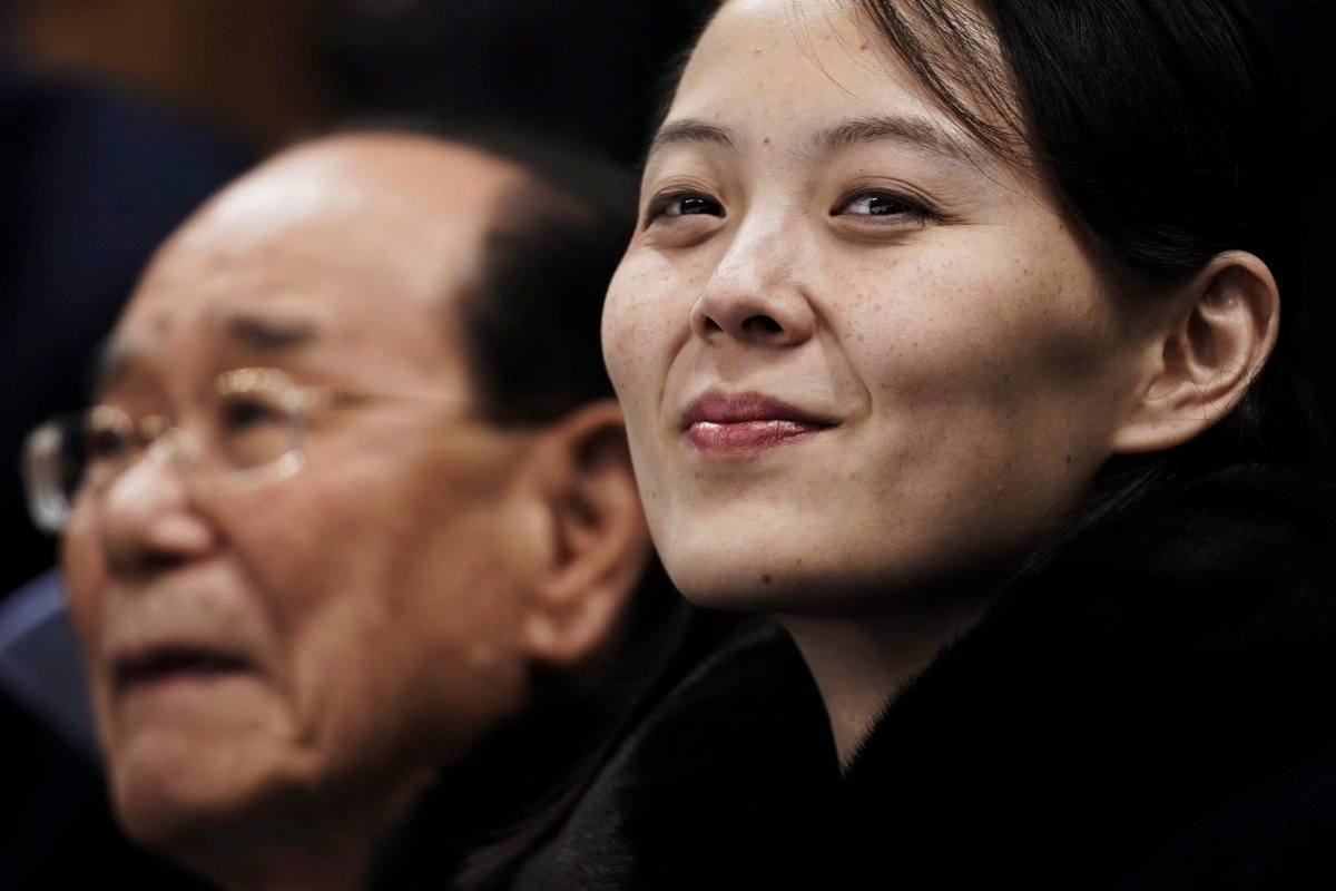 Kim Yo Jong waits with North Korea's nominal head of state, Kim Yong Nam, for the start of a women's hockey game between Switzerland and the combined Koreas at the 2018 Winter Olympics in Gangneung, South Korea, on Feb. 10, 2018.
