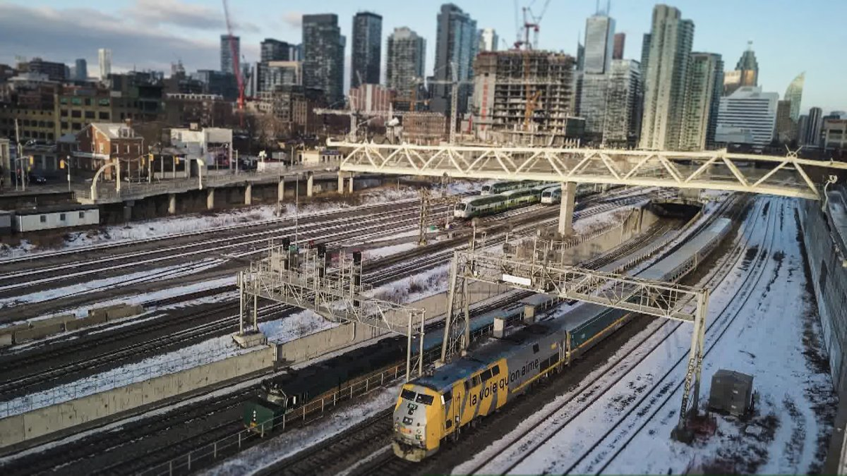 Drone shot of trains near Union Station in Toronto