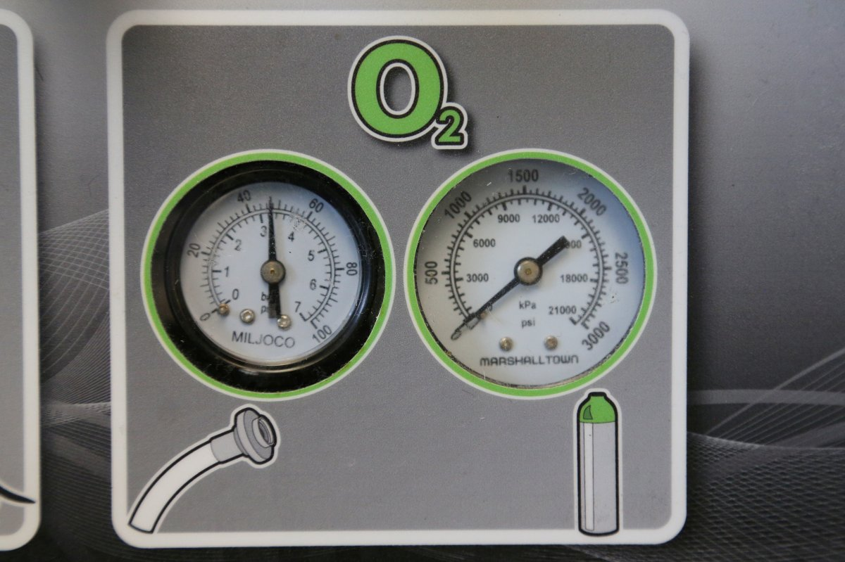 FILE PHOTO: Gauges to regulate oxygen on a ventilator are seen at a lab run by the University Health Network in Toronto, Ontario, Canada May 24, 2019.