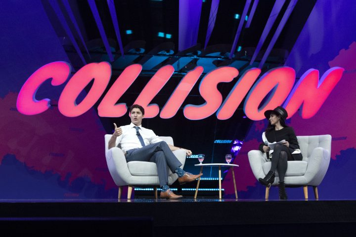 Prime Minister Justin Trudeau participates in an armchair discussion with founder and CEO of BroadbandTV Corp, Shahrzad Rafati, at the Collision tech conference in Toronto on Monday May 20, 2019.