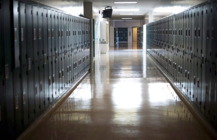 A empty hallway is seen at McGee Secondary school in Vancouver,on Sept. 5, 2014.