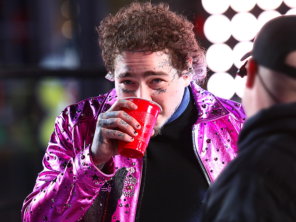 Post Malone performs in Times Square on New Year's Eve in New York City.
