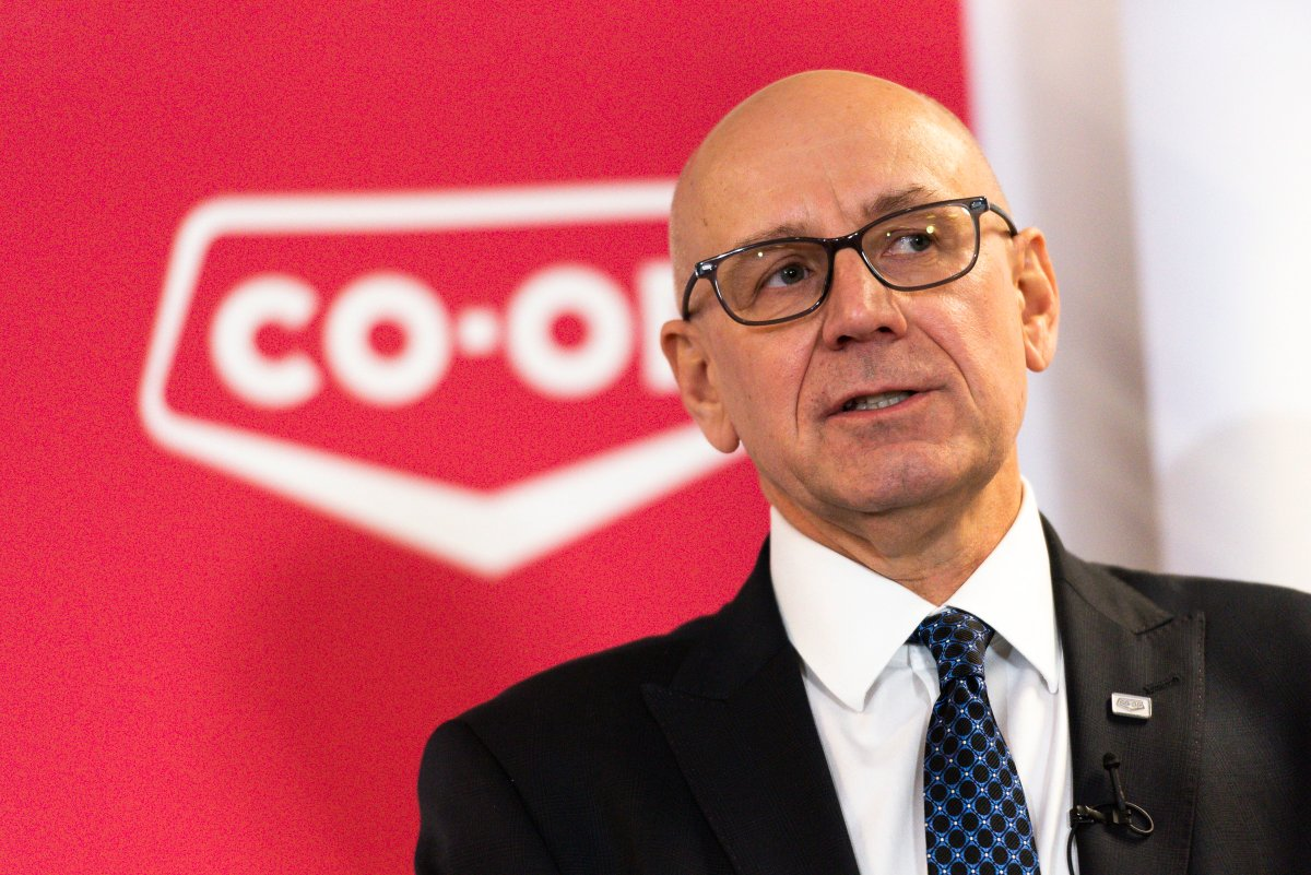 Federated Co-operatives Limited CEO Scott Banda speaks about the Co-op Refinery labour dispute during a press conference in Regina on Monday, Feb. 3, 2020.