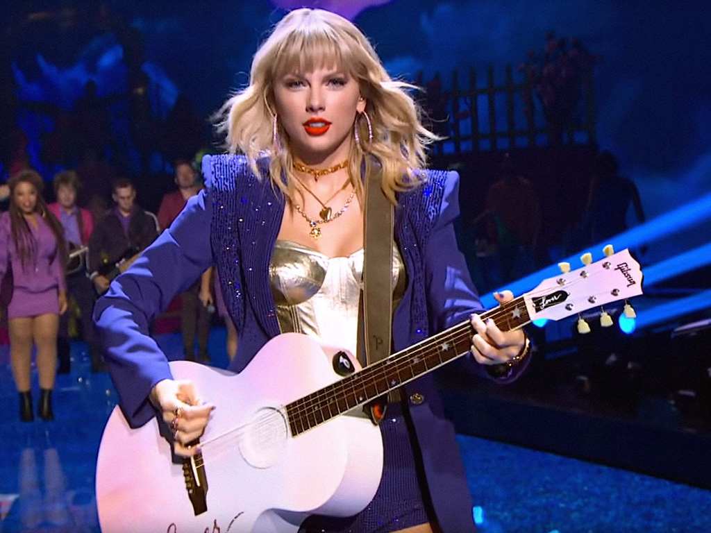 Taylor Swift performing her song  Lover  at the 2019 MTV Video Music Awards on Aug. 26, 2019, at the Prudential Center, in Newark, N.J.