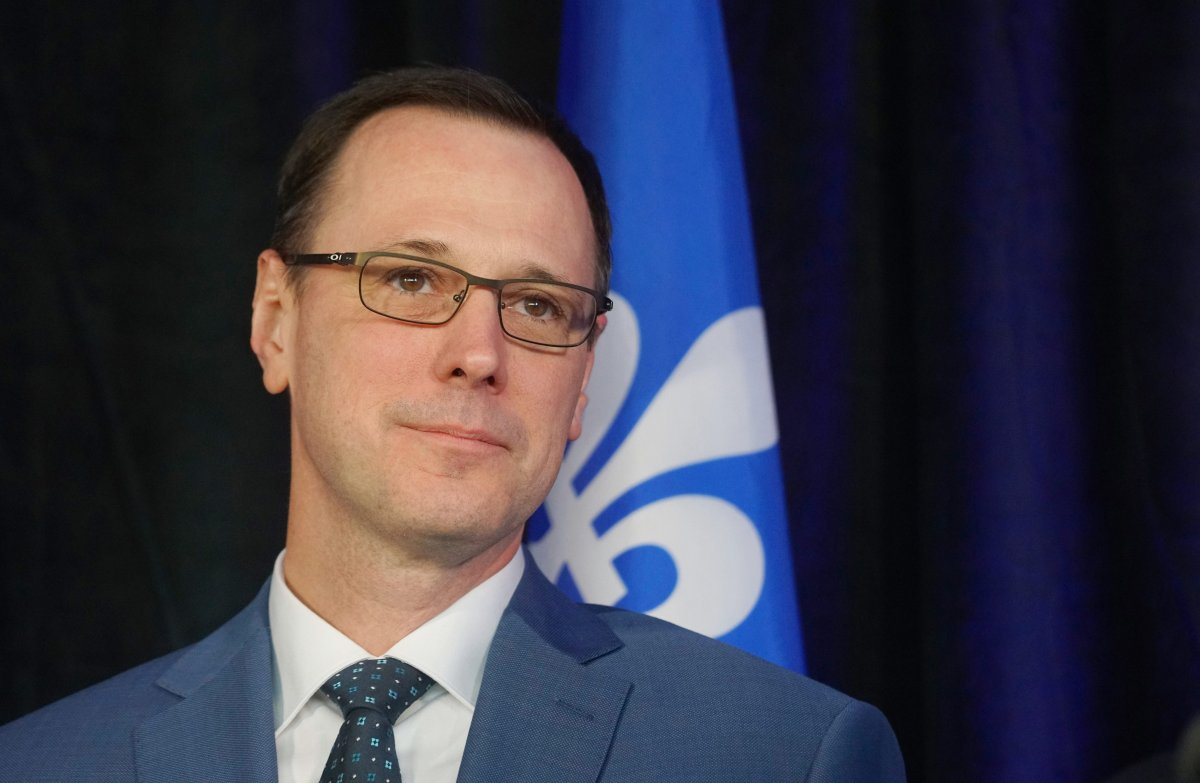 Education minister Jean-Francois Roberge at a press conference in Montreal.