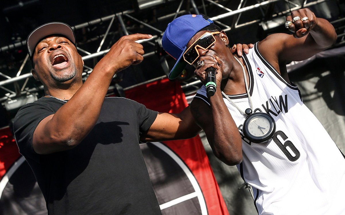 This May 29, 2015 file photo shows Chuck D, left and Flavor Flav of Public Enemy performing at the 2015 BottleRock Napa Valley Music Festival in Napa, Calif.