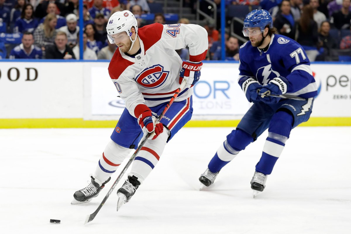 Montreal Canadiens right wing Joel Armia (40) goes in on Tampa Bay Lightning goaltender Andrei Vasilevskiy after getting past Tampa Bay Lightning defenseman Victor Hedman (77) during the first period of an NHL hockey game Thursday, March 5, 2020, in Tampa, Fla.