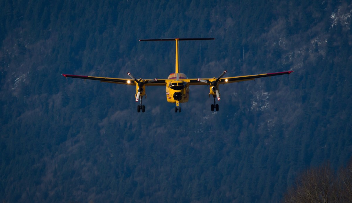 A Canadian Forces CC-115 Buffalo aircraft prepares to land during search and rescue training by the Royal Canadian Air Force 442 Transport and Rescue Squadron at Chilliwack Airport in Chilliwack, B.C., on February 28, 2014.