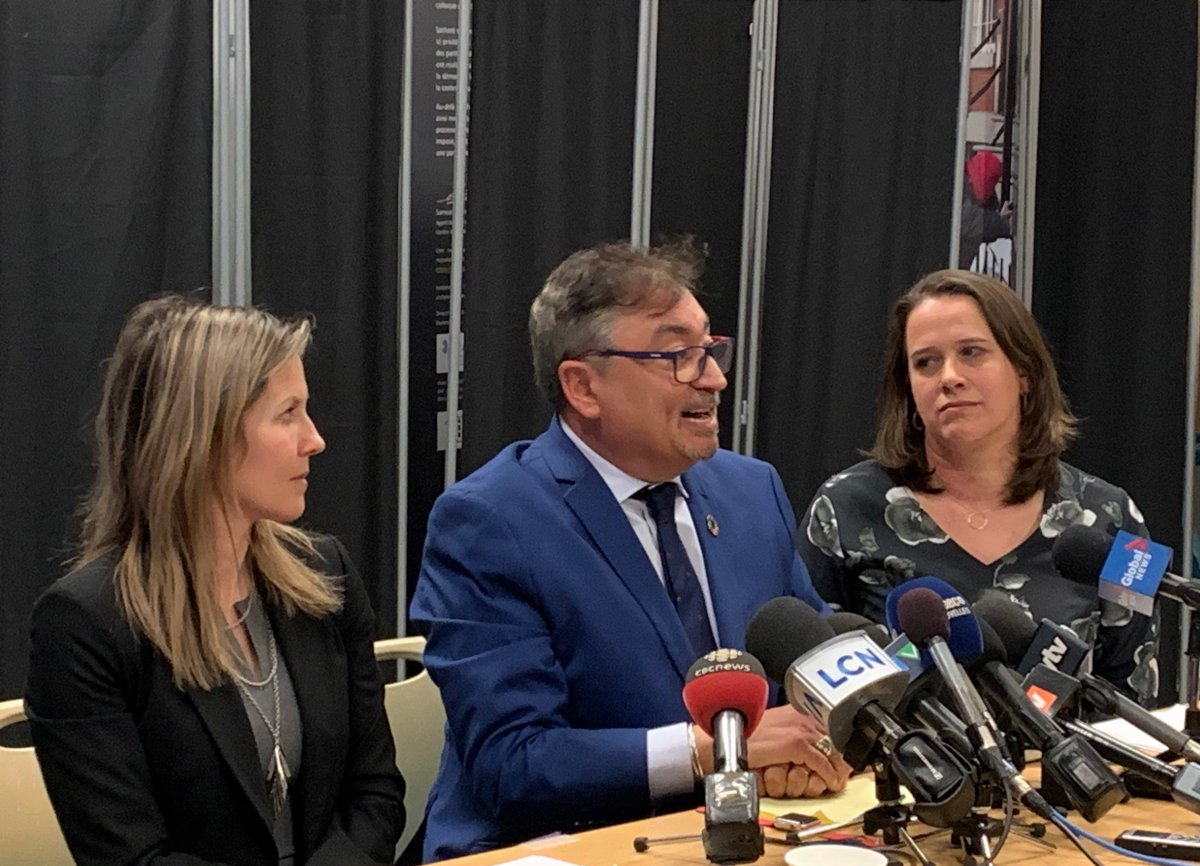 Julie Loslier, director of Montérégie's public health department, left to right, Quebec director of public health Horacio Arruda, Montreal public health director Dr. Mylène Drouin, speak at a press conference in Montreal on Tuesday, March 10, 2020.