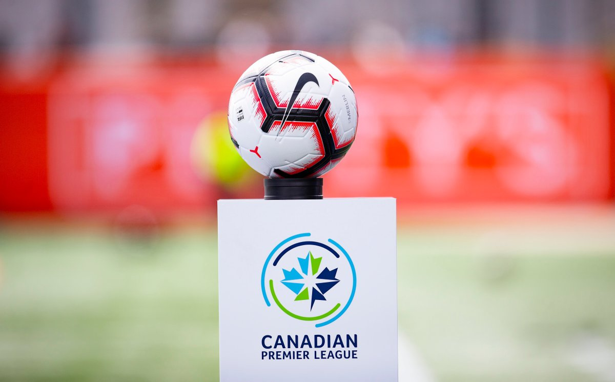 The game ball sits on a pedestal ahead of the inaugural soccer match of the Canadian Premier League between Forge FC of Hamilton and York 9 in Hamilton, Ont. Saturday, April 27, 2019. Atletico Ottawa players and coaches are headed home, leaving their Spanish training base as a result of a domino effect of restrictions from the COVID-19 outbreak.