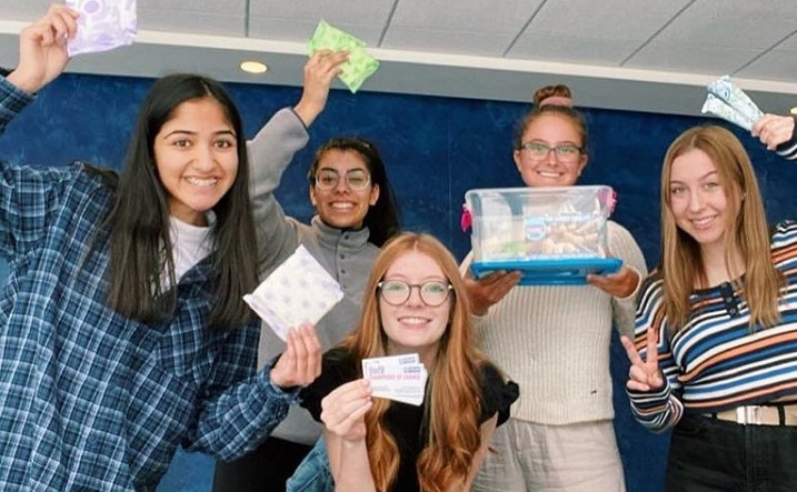 """Members of the U of R Champions of Change Club are tackling """"period poverty"""" around campus, offering students free tampons and pads ."""