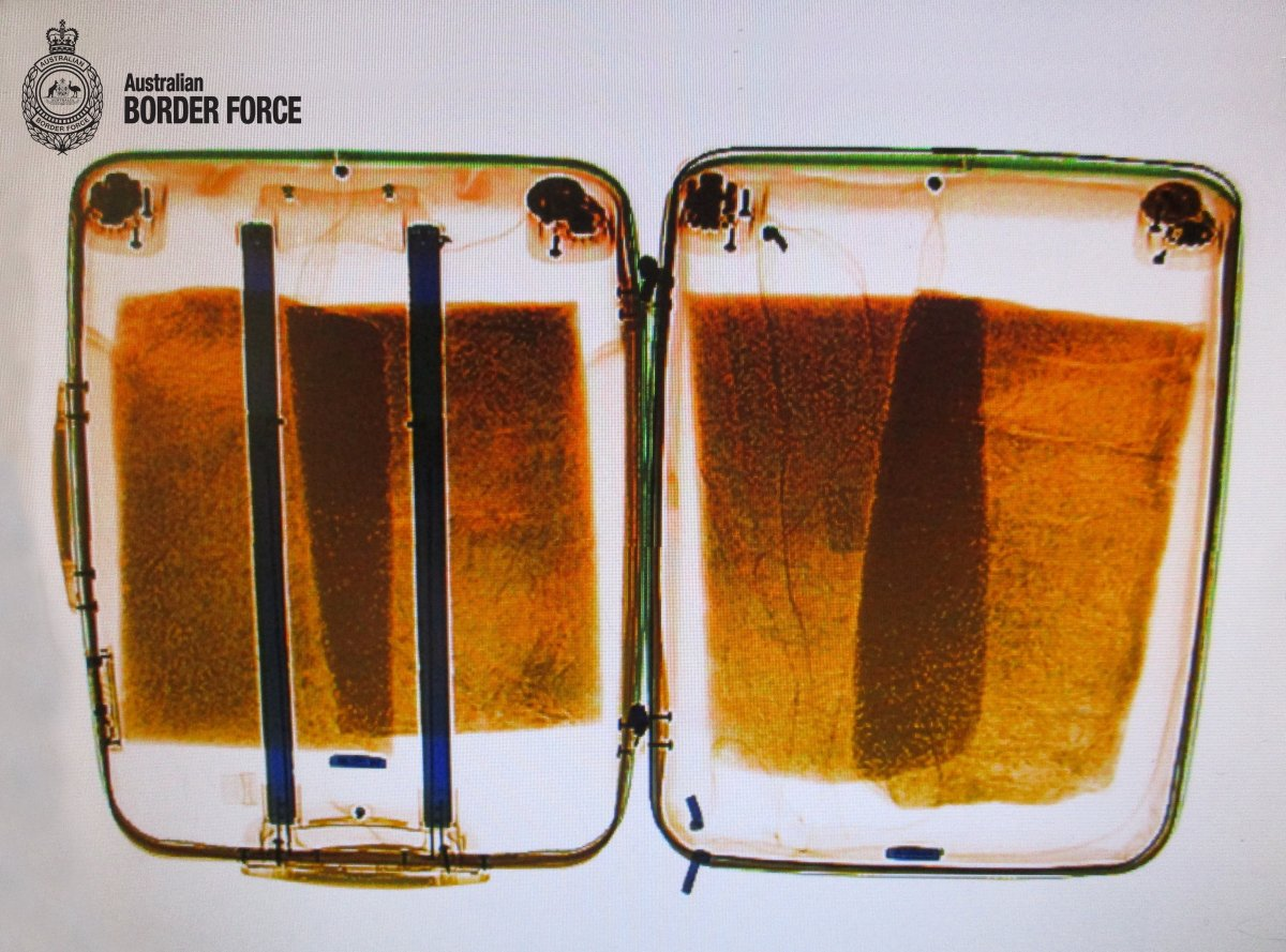 An X-ray image of a suitcase belonging to a Canadian traveller allegedly stuffed with methamphetamine.