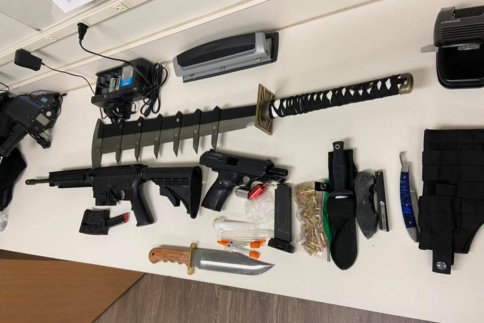 Police in Bath Township, Mich., seized these weapons during a traffic stop on Jan. 27, 2020.