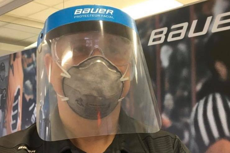 A prototype medical face shield is shown in this image released by Bauer Hockey on March 25, 2020.