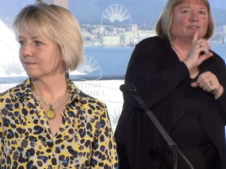 B.C.'s top health officer, Dr. Bonnie Henry, left, fields questions from the media regarding coronavirus on Saturday in Vancouver.