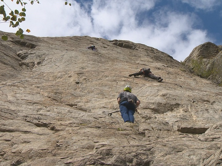 File photo: Rock climbers at Skaha Bluffs Provincial Park near Penticton. The provincial government says parks are seeing an increase in visitors, but that many aren't complying with social distancing.