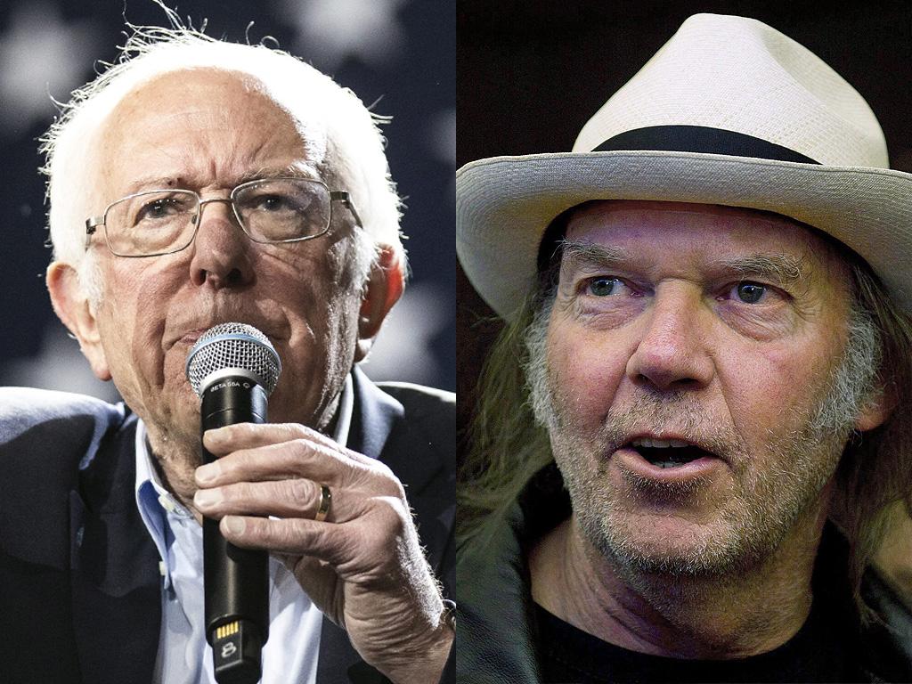 (L-R) U.S. Senator Bernie Sanders and Neil Young.