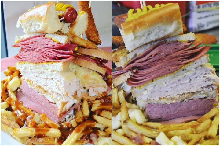 Grumans Delicatessen in Calgary says anyone who can finish the Big Zaidy 2.0 in 18 minutes or less can have it for free.
