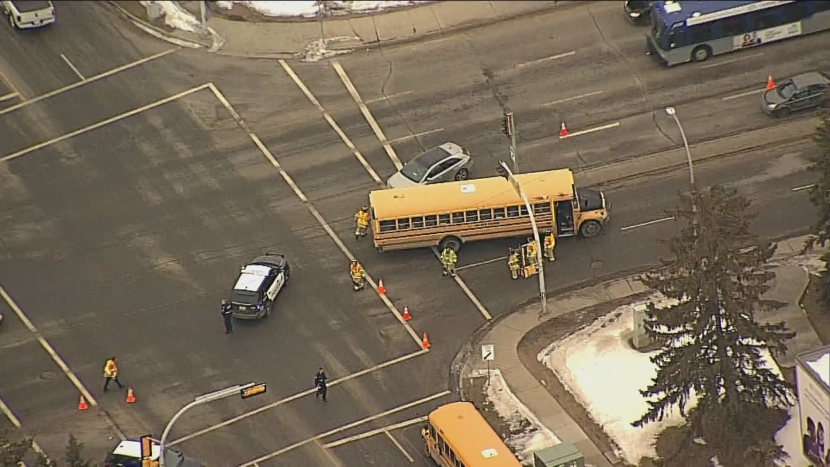 The intersection of Castle Downs Road at 162 Avenue in north Edmonton was closed Wednesday, March 4, 2020 due to a collision involving a school bus.