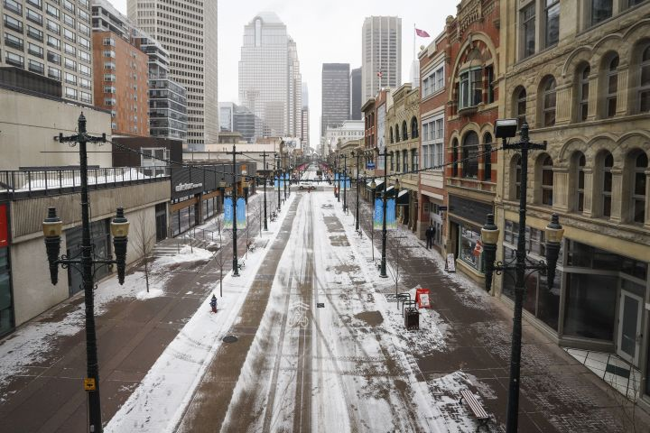 Empty downtown streets in Calgary, Alta., Wednesday, March 18, 2020, amid a worldwide COVID-19 pandemic.