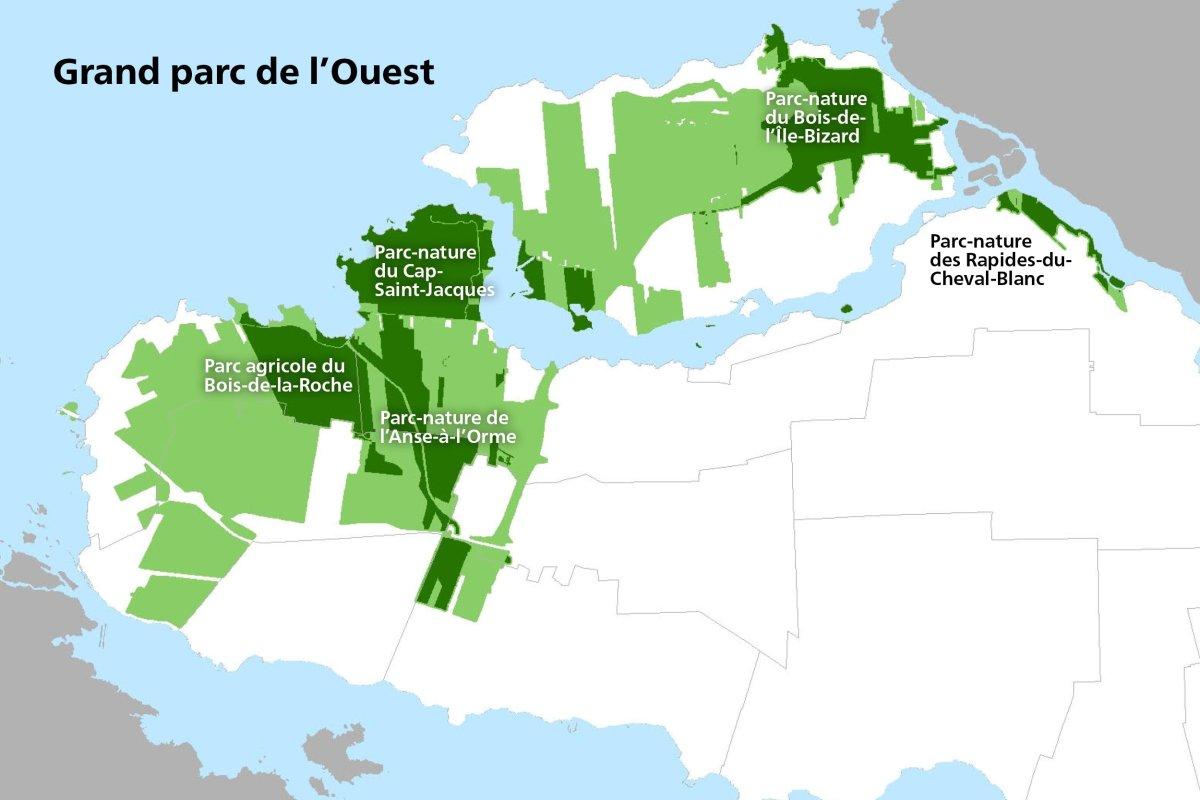 The Grand Parc de l'Ouest will include the L'Anse-à-l'Orme, Bois-de-L'île-Bizard, Bois-de-la-Roche, Cap-Saint-Jacques and Des Rapides-du-Cheval-Blanc nature parks, along with other areas of interest.