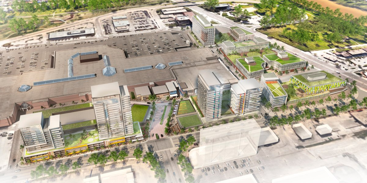 Shindico Development and Cadillac Fairview want to build commercial and residential buildings on this empty land near Polo Park Shopping Centre.
