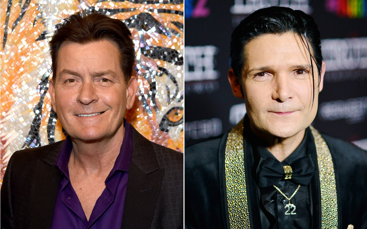 (L-R): Charlie Sheen and Corey Feldman.