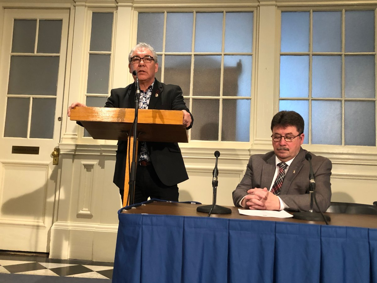 Glooscap First Nation Chief Sidney Peters speaks at a funding announcement for the Tawaak Housing Association in Halifax on March 2, 2020.