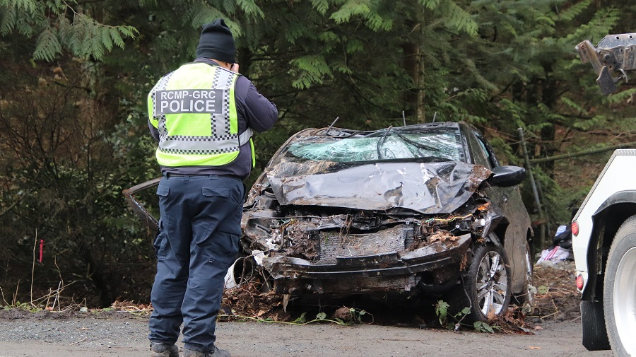 Chilliwack RCMP at the scene of a single-vehicle crash that killed a woman in her 20s on March 7, 2020.
