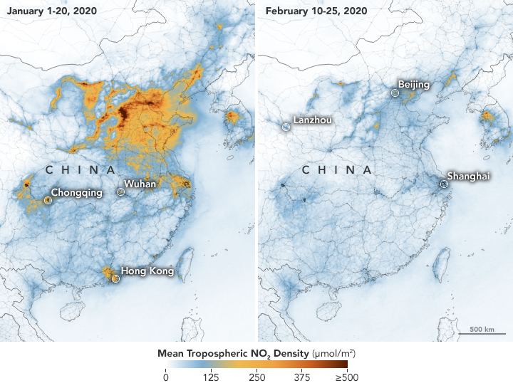 NASA and the European Space Agency detected 'significant decreases' in nitrogen dioxide levels over China.