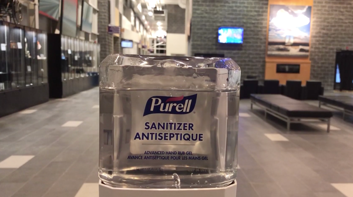 Hand sanitizer at the entrance of the Cobourg Community Centre.