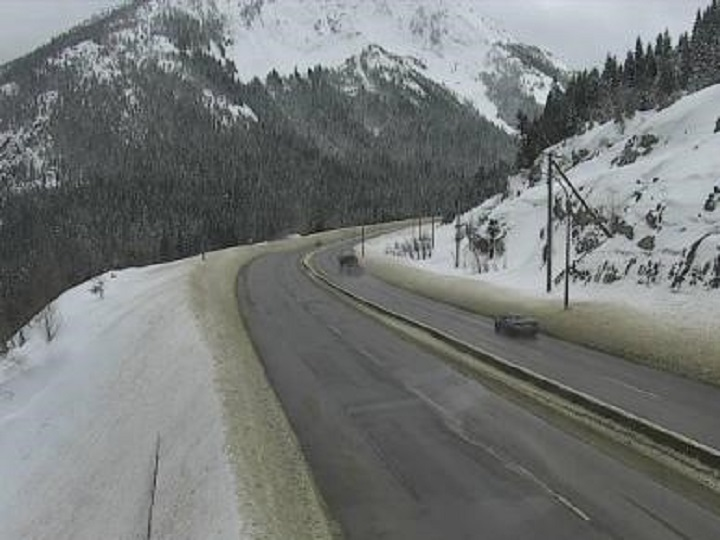 Road conditions at the summit of the Coquihalla Highway on Tuesday morning. The national weather agency is predicting 10 to 20 cm of snow from Tuesday afternoon to Wednesday morning.
