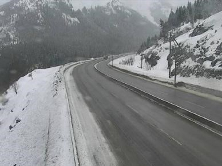 Road conditions at the summit of the Coquihalla Highway on Saturday morning. Environment Canada is projecting 30 to 40 centimetres of snow between Hope and Merritt this weekend.