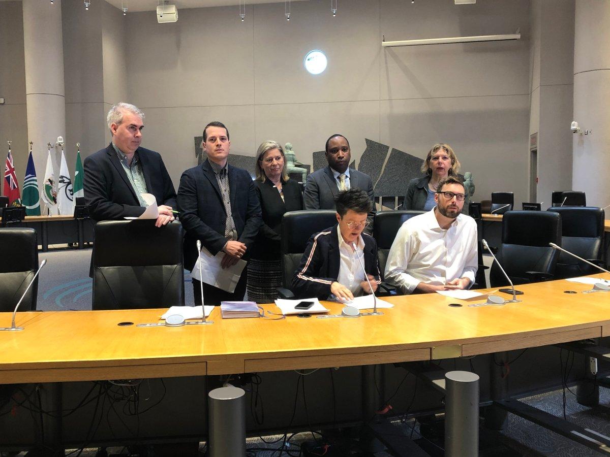 Ottawa city councillors standing from left to right: Riley Brockington, Mathieu Fleury, Carol Anne Meehan, Rawlson King and Theresa Kavanagh. Sitting, from left to right: Catherine McKenney and Shawn Menard.
