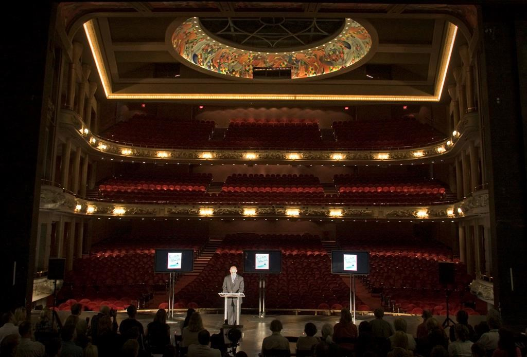 David Mirvish stands on the stage at the Princess of Wales theatre in Toronto.
