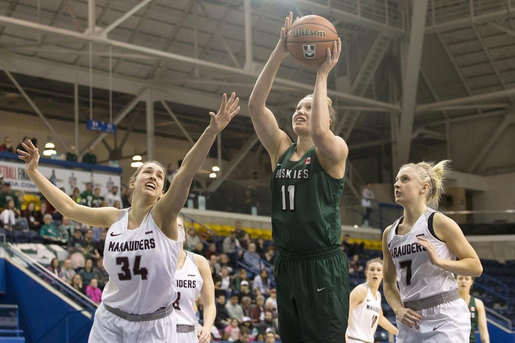 University of Saskatchewan Huskies' Summer Masikewich, centre, shoots as McMaster Marauders' Olivia Wilson, left, and teammate Erin Burns look on during U Sports Canadian women's basketball championship semifinal action, in Toronto on Saturday, March 9, 2019. The Huskies face the Carleton Ravens at the U Sports women's basketball championship on Thursday. THE CANADIAN PRESS/Chris Young.