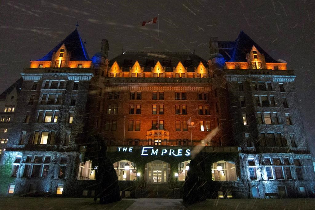 The historic Empress hotel in downtown Victoria, B.C. is shown on Jan. 16, 2012. Staff served strike notice at the Fairmont Empress, a well-known hotel and landmark in Victoria. A statement from Unifor Local 4276 says almost 500 workers are affected in several departments from guest relations, housekeeping and culinary to groundskeeping and maintenance. Strike notice expires at 8 a.m. Saturday.