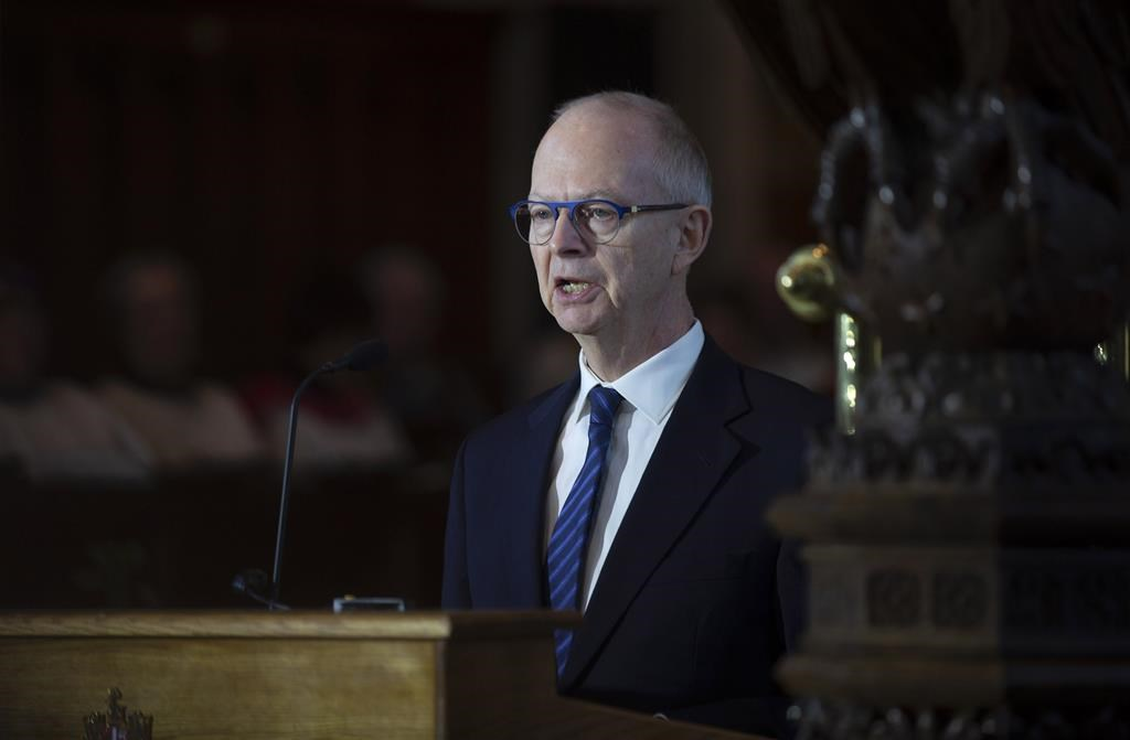 Ches Crosbie, leader of the Newfoundland and Labrador Opposition, delivers an eulogy for his father, former Newfoundland and Labrador Lieutenant Governor, and federal politician John Crosbie, at the Anglican Cathedral of St. John the Baptist in St. John's on Thursday, January 16, 2020.
