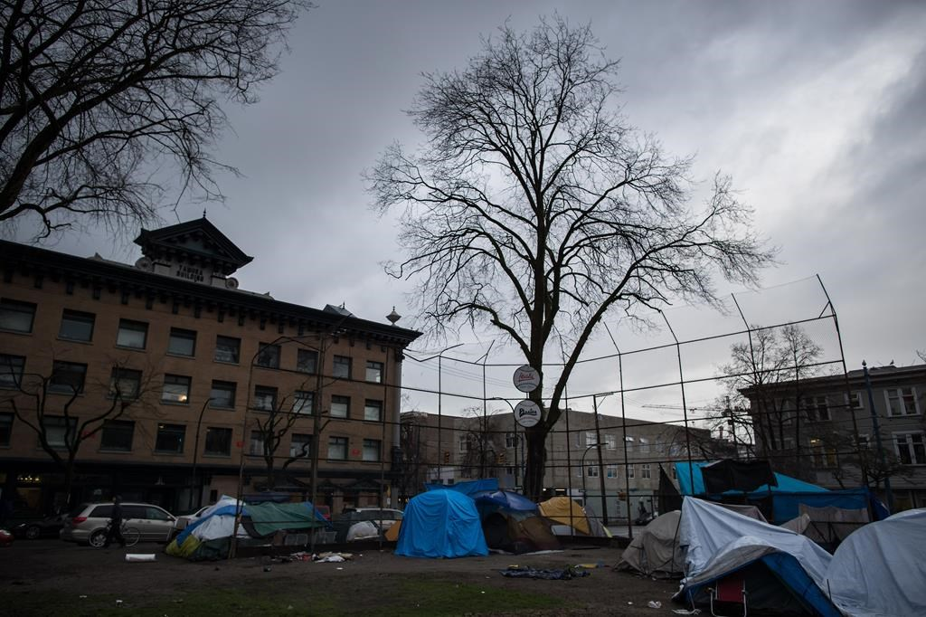 Tents are seen on a baseball diamond at a homeless camp at Oppenheimer Park in the Downtown Eastside of Vancouver, on Friday December 13, 2019.