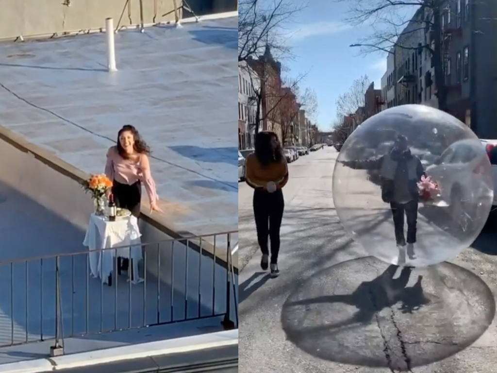 New York City photographer Jeremy Cohen asked his neighbour out on a date with his drone, adhering to coronavirus social distancing rules.