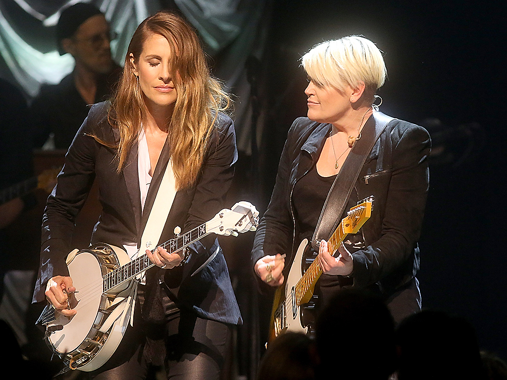 Emily Robison (L) and Natalie Maines of the Dixie Chicks perform in concert during the Mack, Jack & McConaughey charity gala at ACL Live on April 12, 2018 in Austin, Texas.