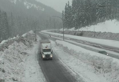 Snowy conditions near the Coquihalla Summit on Tuesday morning.