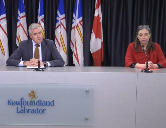 Newfoundland and Labrador Premier Dwight Ball joins Chief Medical Officer of Health Dr. Janice Fitzgerald in a COVID-19 update on March 18, 2020.